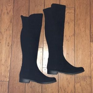 Unisa Cloth & Suede Black Over-The-Knee Boots 10